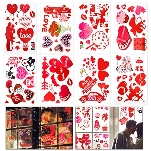 Pack of 8 Valentine's Day Static Window Clings- 8 Styles Valentine's Day Themed Heart Shaped Double Sided Glass Window Decals Stickers for Cafes, Restaurants Glass Doors, Shop Windows, Wedding Decor