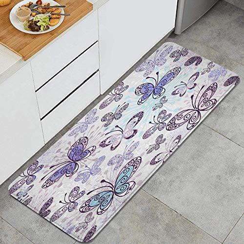 NINEHASA Tappeto da Cucina,Fantasia rosa-viola-blu con farfalle trasparenti,antiscivolo passatoia da cucina antiscivolo zerbino tappetino per il bagno