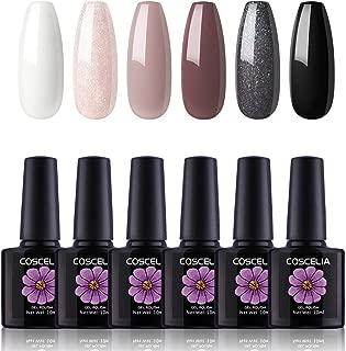 Coscelia 6 Pcs Soak Off Gel Nail Polish Set White Pink Glitter Black Nail Gel Polish Series Nail Starter Kit