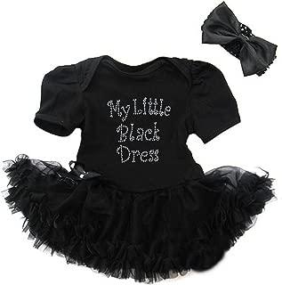 Baby Rhinestone My Little Black Dress Bodysuit Pettiskirt Headband Set