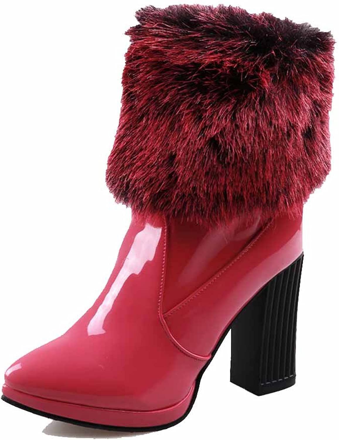 WeiPoot Women's High-Heels Solid Pointed Closed Toe Patent Leather Pull-on Boots