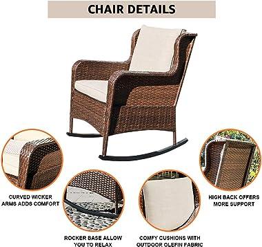 SUNSITT Outdoor Resin Wicker Rocking Chair with Olefin Cushions, Patio Yard Furniture Club Rocker Chair, Brown Wicker & Beige