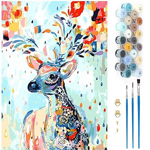 DTnewsun Gemälde nach Zahlen Erwachsene, Malen nach Zahlen für Erwachsene Kinder Anfänger DIY Handgemalt Ölgemälde Kits Includes Brushes and Acrylic Pigment 40 * 50 cm (xiaolu)