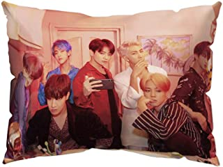 Hosston Kpop BTS Pillowcase, Bangtan Boys Sixth Edition Family Commemorative Photo Pillow Cases 11.8 x 19.7 inch Decorative Throw Pillow Covers Cushion Cases Best Gift for A.R.M.Y(Style 01)