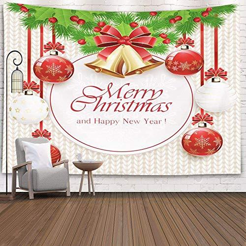 Tapices Deacutecor, sala de estar, dormitorio, para el hogar, interior, de Printed para decoraciones navideñas con bolas de Navidad, campanas doradas, lazo rojo, bayas de acebo y ramas de abeto, blanc