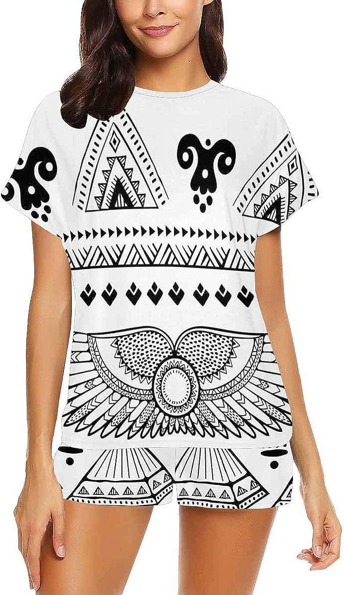 InterestPrint Tribal Ethnic with Egypt Symbols Women Sleepwear Short Sleeves Pajama Sets