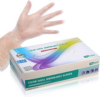 Disposable Clear Vinyl Exam Gloves Industrial Gloves - Latex-Free & Powder-Free 100PCS - Medium