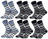 Tobeni 6 Paar Kindersocken Ringel mit Frotteefutter Thermo Socken für Jungen & Mädchen bunt blau Farbe 2x Jeans 4x Marine Grösse 35-38