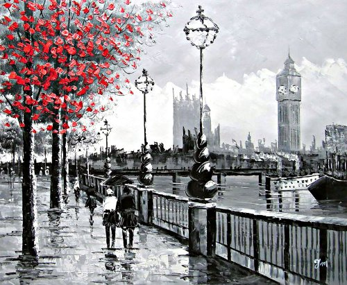 London Street Scene View of Big Ben from The South Bank And The River Thames. Pittura a Olio Dipinta a Mano su Tela - Ottima qualità e artigianalità