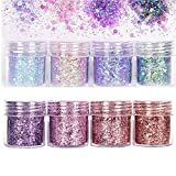 8 Scatole Set di Polvere Glitter per Unghie,Glitter per Unghie,Glitter Cosmetici Lustrini 3D Brillantini Decorazioni per Ombretto,Trucco, Nail Art