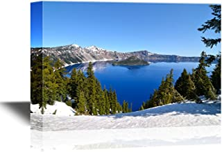 wall26 - USA Landmarks Canvas Wall Art - Gorgeous Crater Lake on a Spring Day, Oregon, USA - Gallery Wrap Modern Home Decor | Ready to Hang - 16x24 inches
