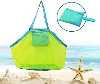 Bornfeel Bolsa de Juguetes Playa Bolsa de Malla para Niños Guardar los Juguetes Bolas Conchas Verde 45 x 30 x 45cm ?18 x 12 x 18in?Malla Verde & Correas Azules