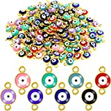 160 Pieces Acrylic Evil Eye Beads DIY Craft Charms Jewelry Making Pendants for DIY Bracelet Necklace Supplies, 8 Colors (Round Style with 2 Hook)
