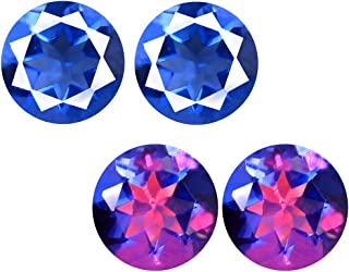 Deluxe Gems 3.03 ct (2pcs) Matching Pair 7 mm Round Cut Color Change from Blue to Purplish Red Un-Heated Fluorite Natural Gemstone