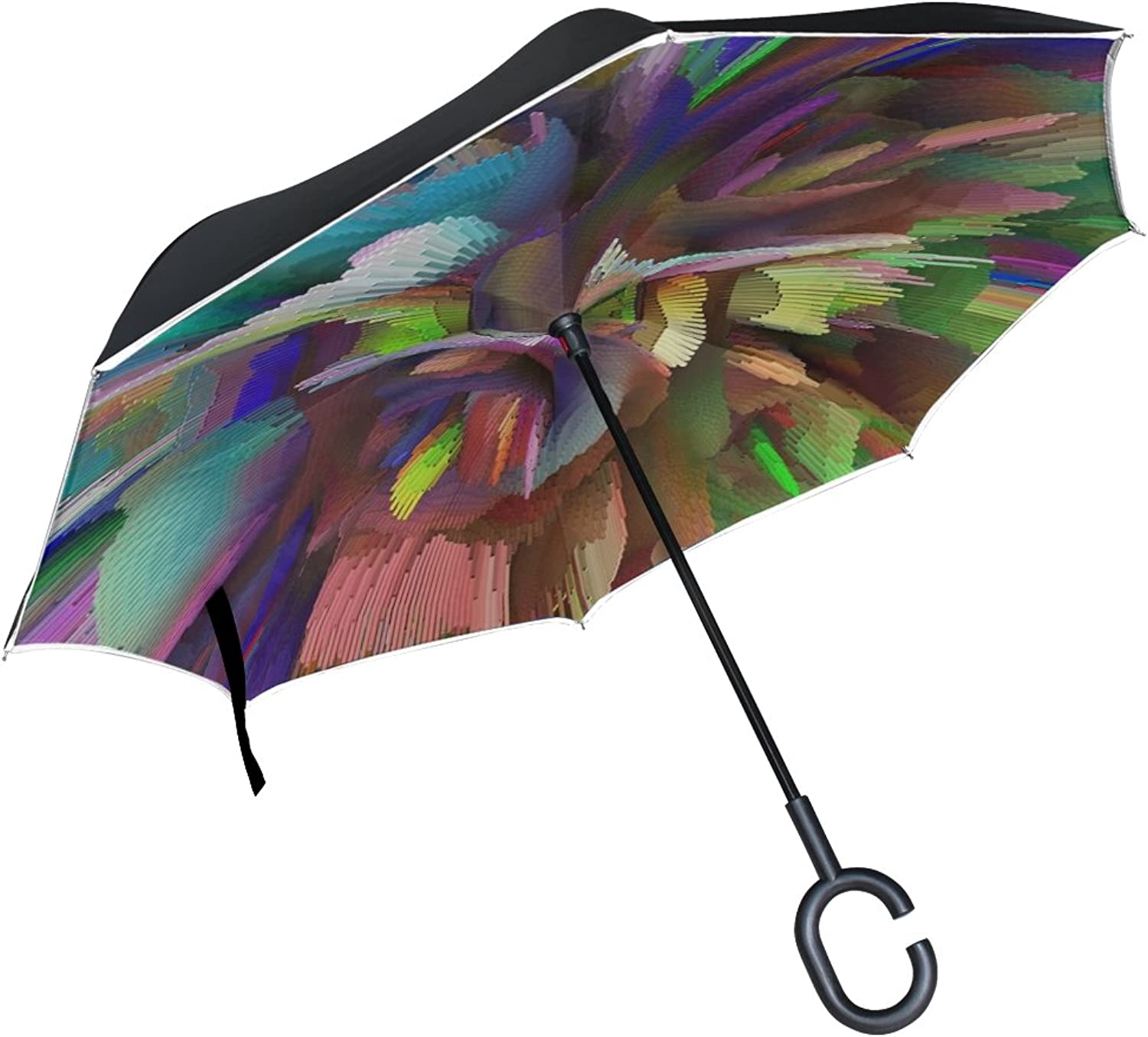 Double Layer Ingreened Bomb Pattern Explode Pop Destruction Umbrellas Reverse Folding Umbrella Windproof Uv Predection Big Straight Umbrella for Car Rain Outdoor with CShaped Handle