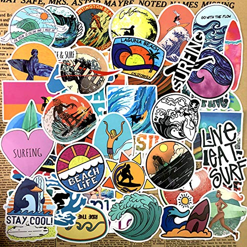 50 Summer Outdoor Surfing Stickers Sun Beach Stickers Waterproof Luggage Wall Computer Scooter Decoration