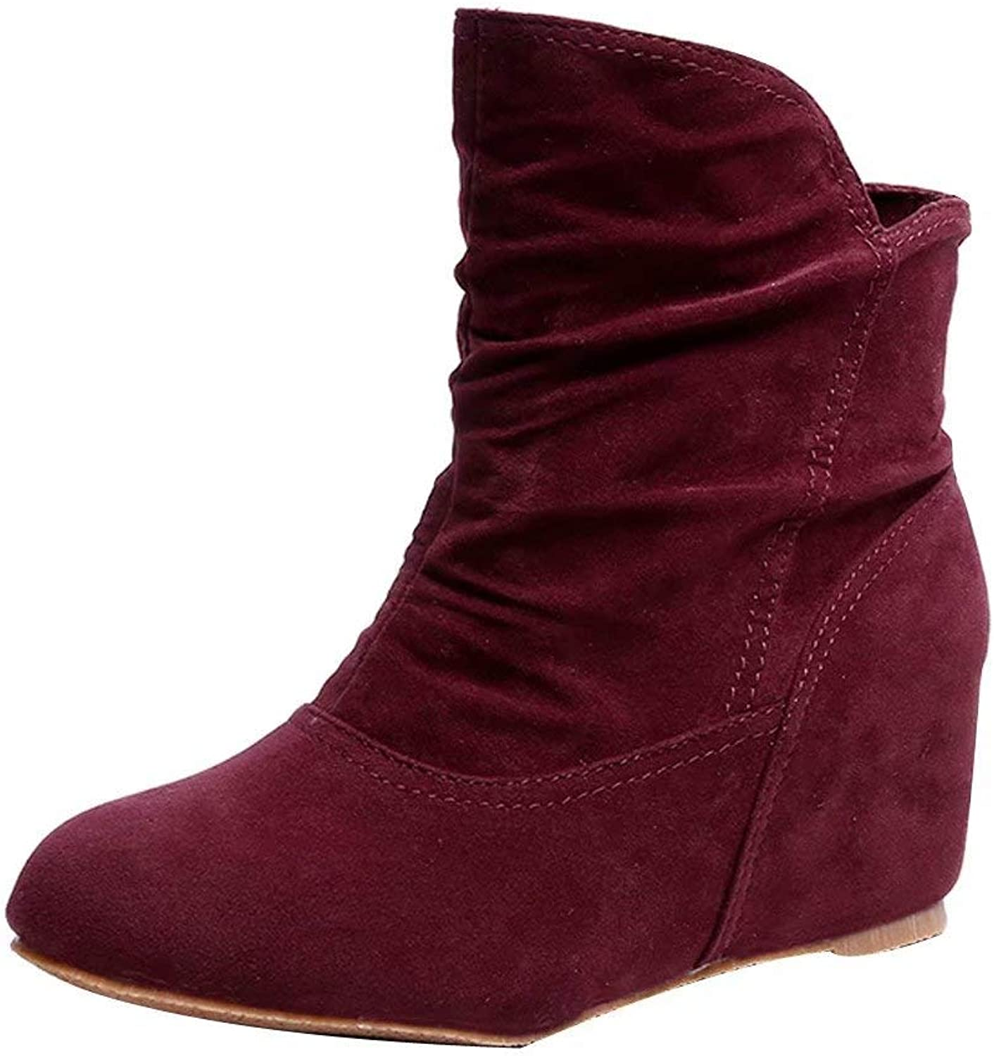 Women Increase Within Boot Booties Wedge Casual Boots Vintage Ankle Boot shoes
