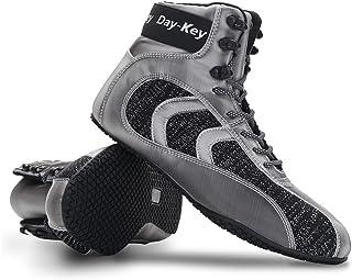WJFGGXHK Men's Boxing Shoes, Professional Squat Shoes Breathable Non-Slip High-Top Wrestling Training Shoes for Unisex