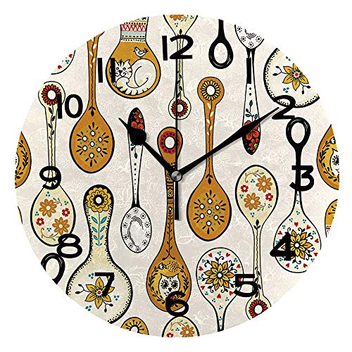 AmaUncle 10 inch Round Clock Seamless Pattern for Kitchen with Painted Decorative Spoons Unique Wall Clock-for Living Room, Bedroom or Kitchen Use SW97910