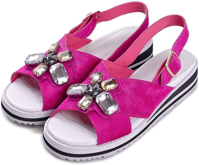 AllhqFashion Women's Round Open Toe Low Heels Horsehair Solid Sandals with Metal Buckles