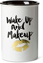 "Tri-coastal Design Ceramic Makeup Brush Holder Storage ""Wake Up and Makeup"" Cosmetic Organizer for Make Up Brushes and Acc..."