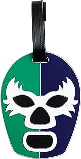 By Mexico Lucha Libre Wrestling Mask Luggage Tag, Verde y Azul Máscara Lucha Libre