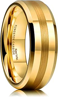 Glory Mens 8mm Matte Brushed Center Tungsten Carbide Ring Yellow Gold Polished Wedding Band