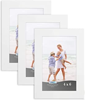 Icona Bay 4x6 Picture Frame (3 Pack, White), Sturdy Wood Composite Photo Frame 4 x 6, Wall or Table Mount, Set of 3 Exclusives Collection