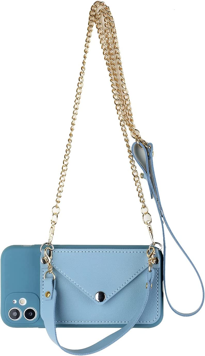 ISYSUII Crossbody Wallet Case for Samsung Galaxy A01 Leather Case Cover with Credit Card Holder Wrist Strap Magnetic Clasp Soft TPU Cover Purse Gift for Women Girls,Blue