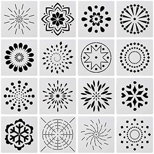 OOTSR 16 piezas conjunto de plantillas de mandala, Plantilla de pintura plástica hueca para pintar sobre madera, piedra, tela, aerógrafo y arte de paredes (5,12 pulgadas)