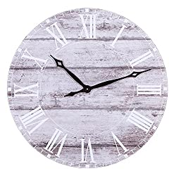 Patton Wall Decor 30 Inch 30 Frameless Rustic White Washed Wood Plank Wall Clock, Gray
