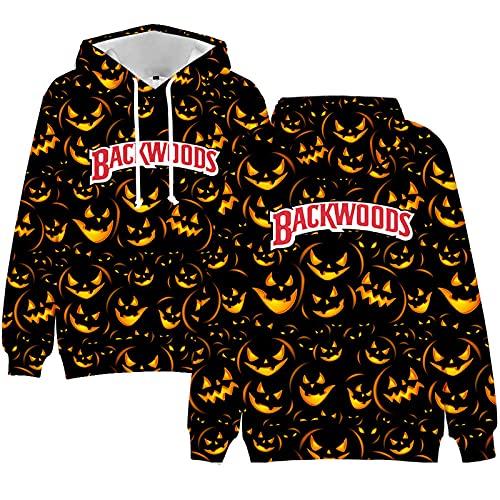 MINGJ Sudadera con Capucha de Halloween de Talla Grande, Sudadera con Capucha Suelta con Estampado 3D de Calabaza de Halloween para Niños Adultos,Pattern8-130