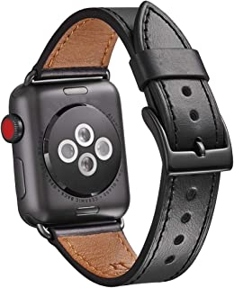 WFEAGL Compatible iWatch Band 42mm 44mm, Top Grain Leather Band Replacement Strap for iWatch Series 5,Series 4,Series 3,Series 2,Series 1,Sport, Edition (42mm 44mm)