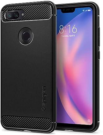 spigen, Funda para Xiaomi Mi 8 Lite 2018, [Rugged Armor] Absorción de Choque Resistente y diseño de Fibra de Carbono [Compatible con Carga Inalámbrica] - [Negro Mate].