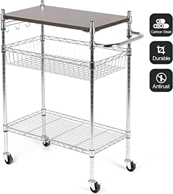 ad99a2c458a7 BOCCA Supreme Kitchen Cart on 2 Locking Wheels with Handle Bar- Chrome  Microwave Stand with