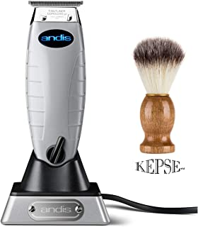 Andis Professional T-Outliner Cordless T-Blade Trimmer (74000) - Bundled with KEPSE Neck Duster