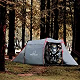 Wolf Walker Motorcycle Tent for Camping 2-3 Person Waterproof Instant Tents with Integrated Motorcycle Port for Outdoor Hiking, Backpacking, Picnic Fast Pitch