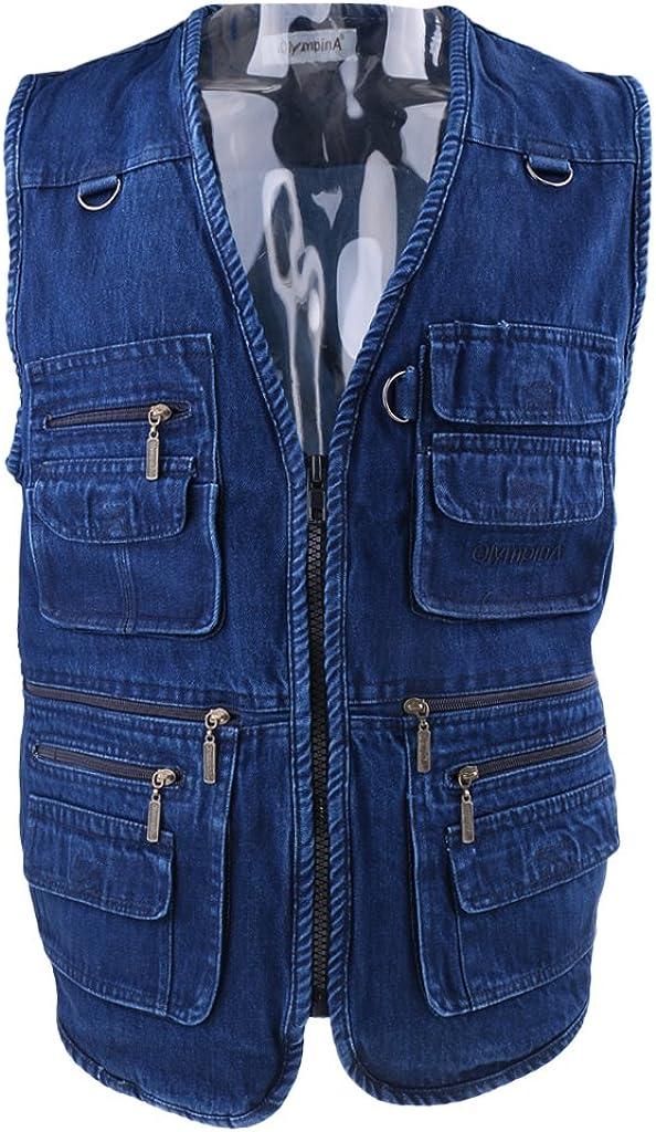 menolana Columbus Mall Mens Denim Vest Zipper Jacket P Spring new work Hunting Leisure Fishing
