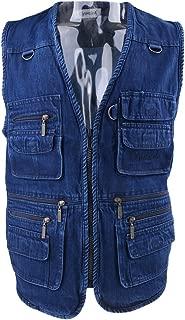 Baosity Men's Sports Vest Denim Quick Drying Zipper Fishing Hunting Photography Jacket Cowboy Vest