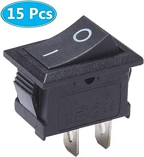 MCIGICM 15 Pcs AC 6A/250V 10A/125V 2 Solder Lug SPST On/Off Mini Boat Rocker Switch, 2Pin Toggle Switch Snap