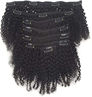 Afro Kinky Deep Curly Human Hair Brazilian Virgin Hair Clip in Hair Extensions