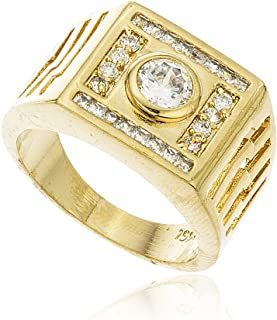 JOTW Men's Gold Layered Iced Out Square & Circle Stone Finger Ring Sizes 9-12 (MN-PAX2-S521)