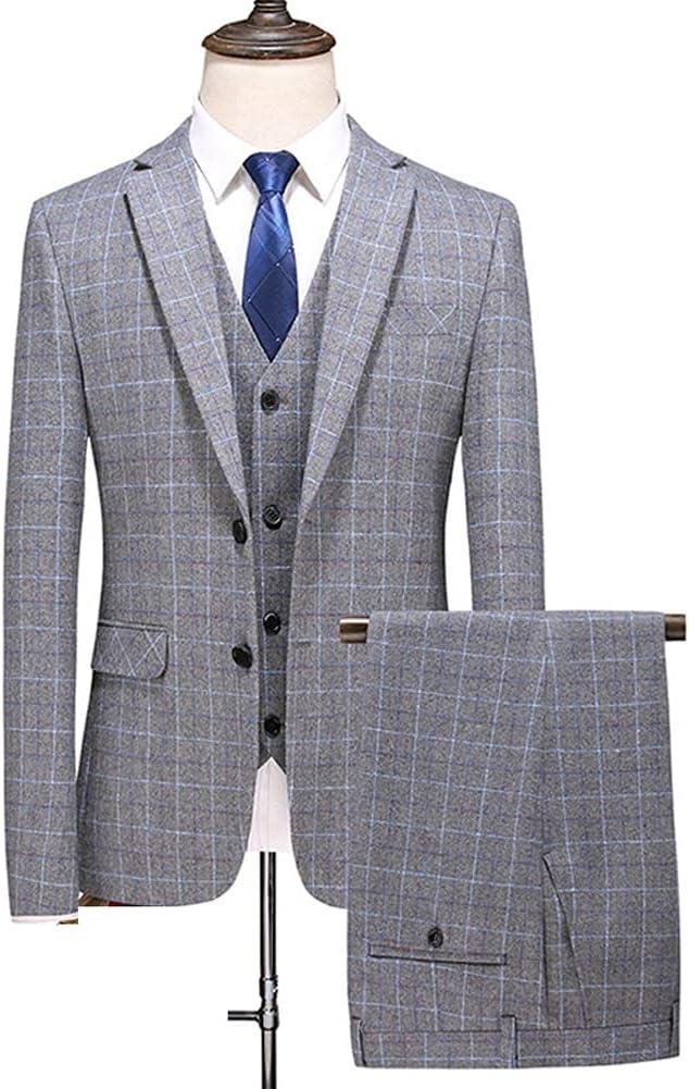 GYZX Men Dress Suits British 3Piece Men Wedding Suit New 2021 Autumn Mens Business Formal (Color : Gray, Size : XXXL for 75 to 80 kg)