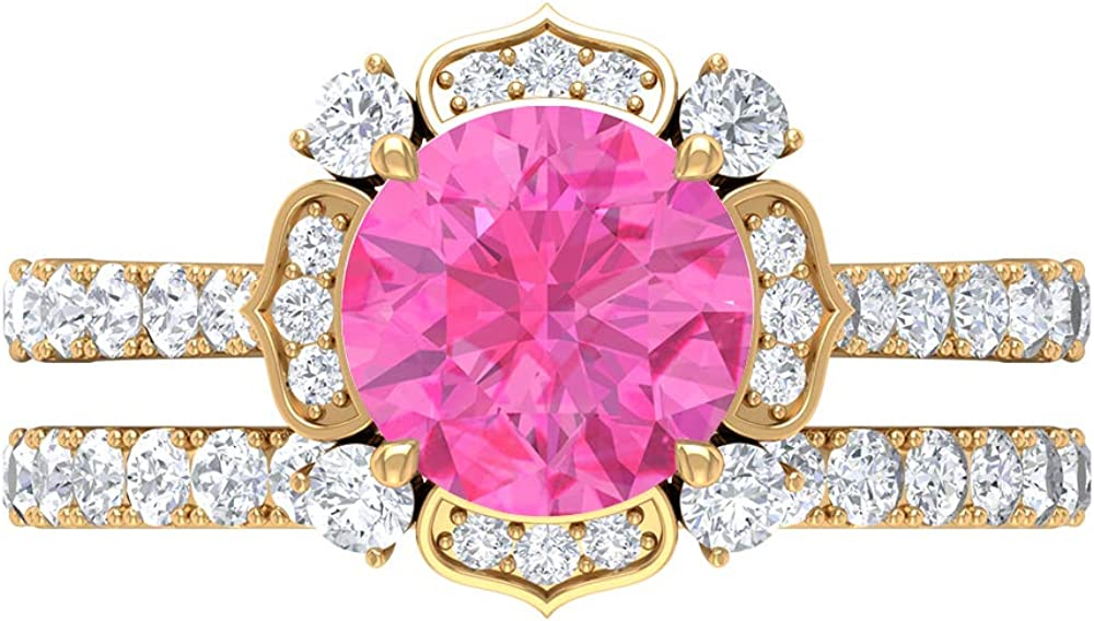 Max 76% OFF Solitaire Bridal Ring Set 8 Lab MM Created Pink Max 51% OFF Sapphire