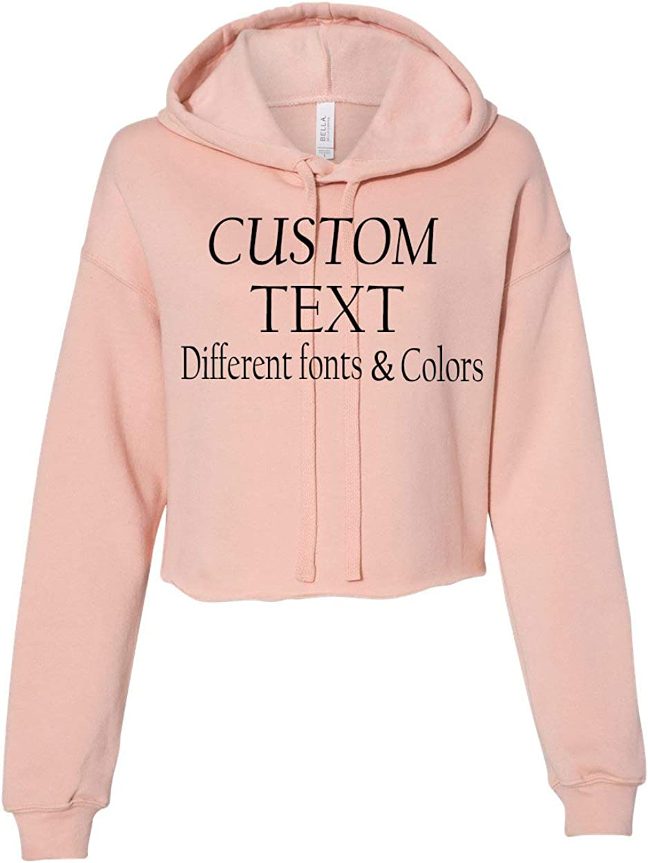 Customized Bella Canvas Women's Cropped latest Hoodie Fleece Add Year-end gift P Text