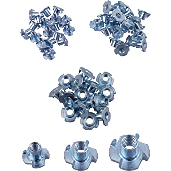 50 Pack POWERTEC QTN1115 4 Prong T Nut Threaded Inserts for Climbing Holds and Wood Working Pronged Tee Nuts 3//8 Inch 16 by 7//16-Inch