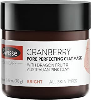 Swisse Natural Skincare Cranberry Australian Pink Koalin Clay Face Mask | All Skin Types | Exfoliate, Refine & Tighten Pores | Cranberry Extract, Dragon Fruit, Lemon Extract, Willow Bark | 2.47 Oz