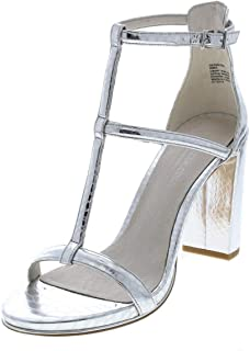 Kenneth Cole New York Womens Deandra Leather Open Toe Ankle, Silver, Size 10.0
