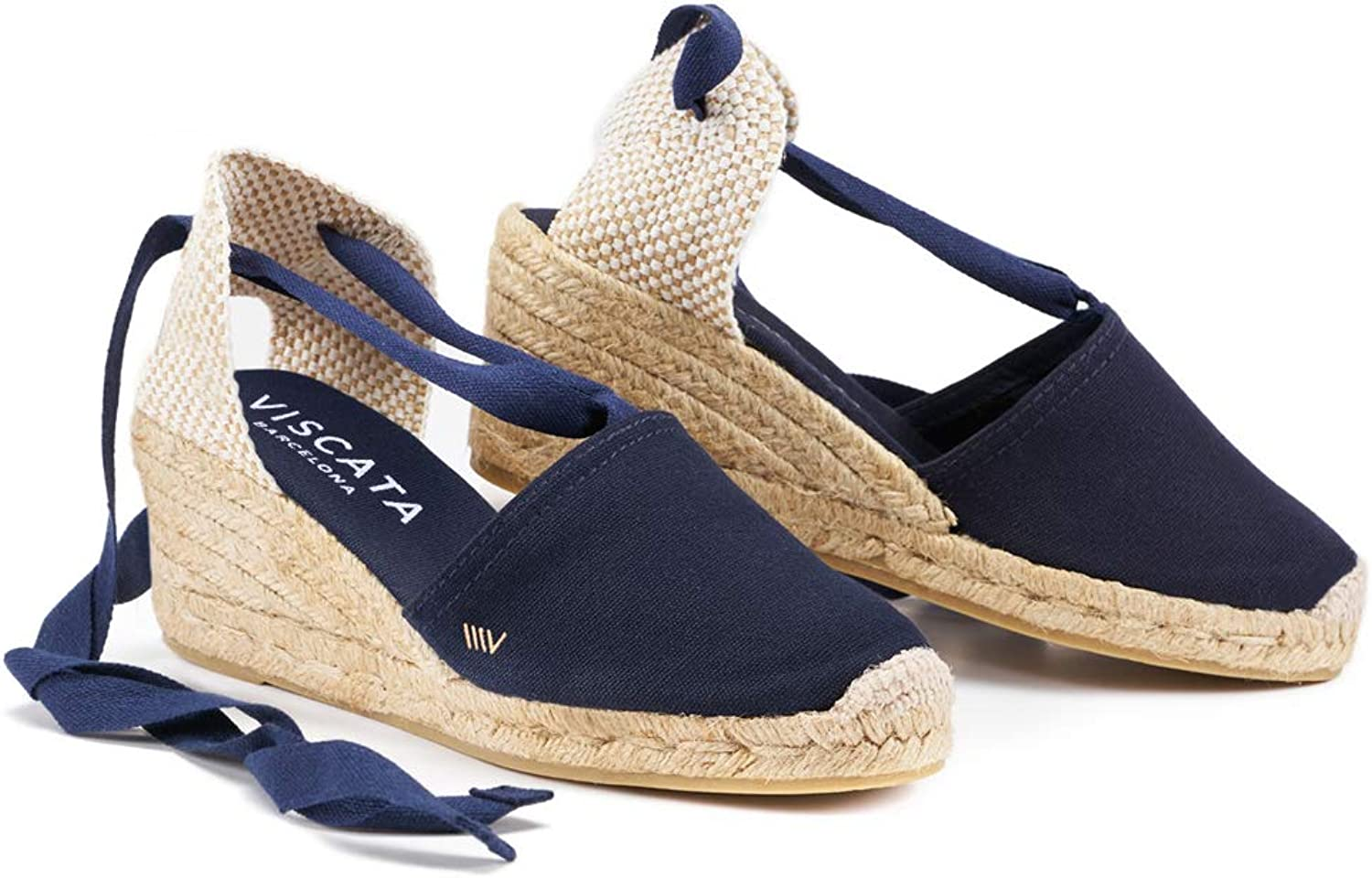 VISCATA Handmade in Spain. Escala 2.5  Wedge, Soft Ankle-Tie, Closed Toe, Classic Espadrilles Heel