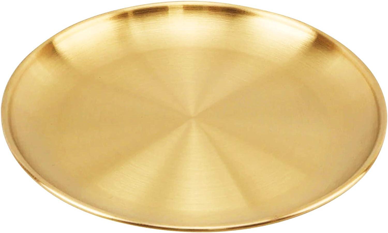 Jroyseter Bandeja Decorativa de Oro de Acero Inoxidable Bandeja Redonda para Servir Placa de Postre Pastelería Presentacion para Alimentos Café Té (14CM)